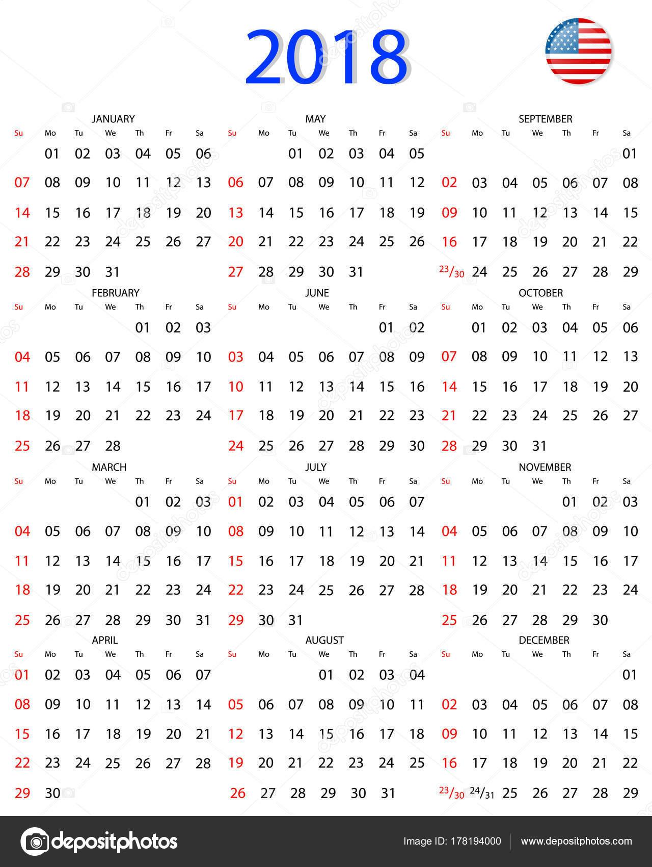 Einfache 2018 Jahreskalender Woche beginnt am Sonntag — Stockvektor ...
