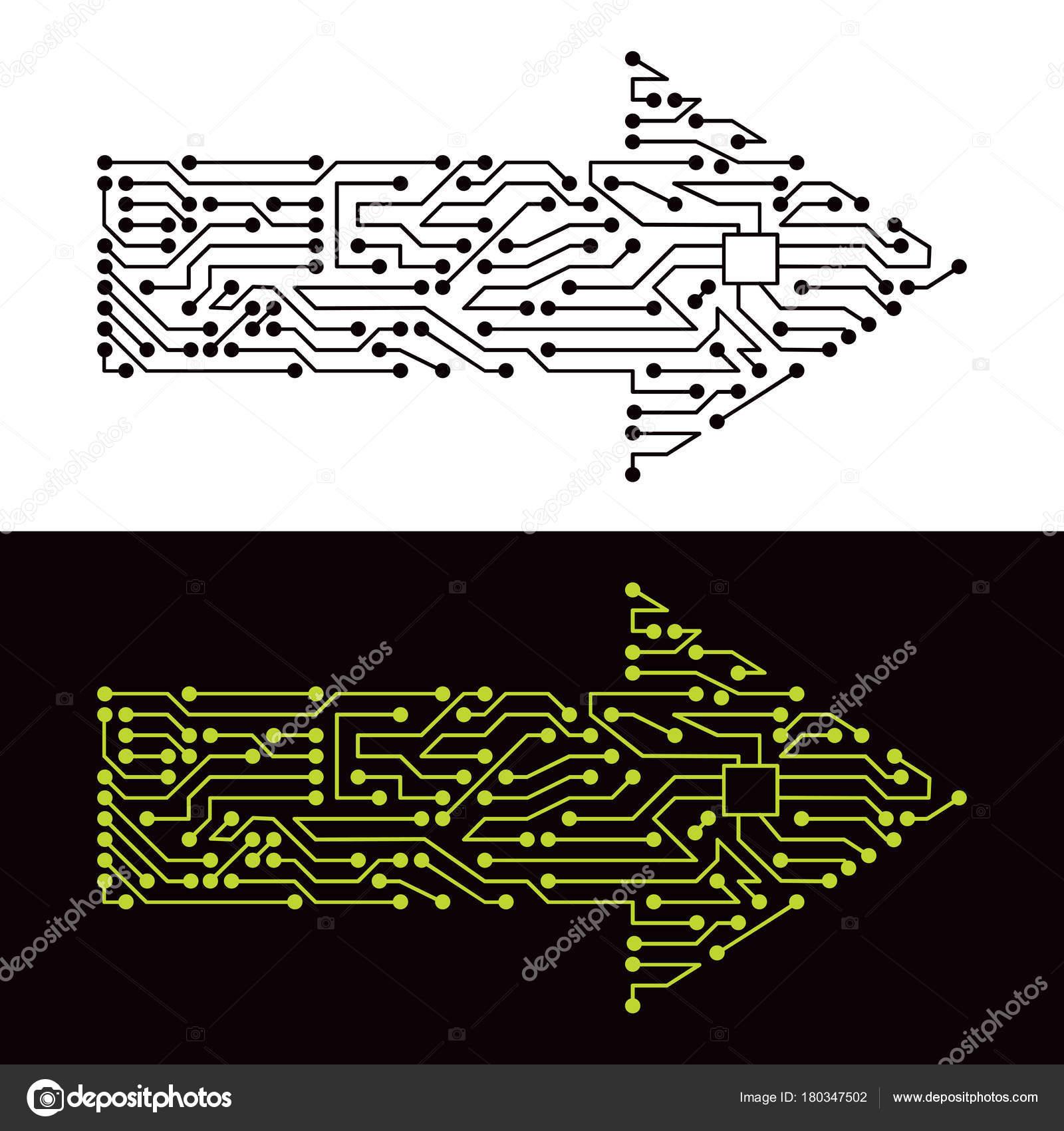 Elektrische Schema Der Pfeil Symbol — Stockvektor © oxygen64 #180347502