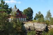 Fotografie Die Berghütte auf Töpfer Hügel in der Nähe von Oybin in Deutschland
