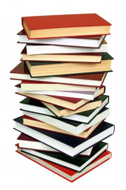 High stack of books isolated on white background stock vector
