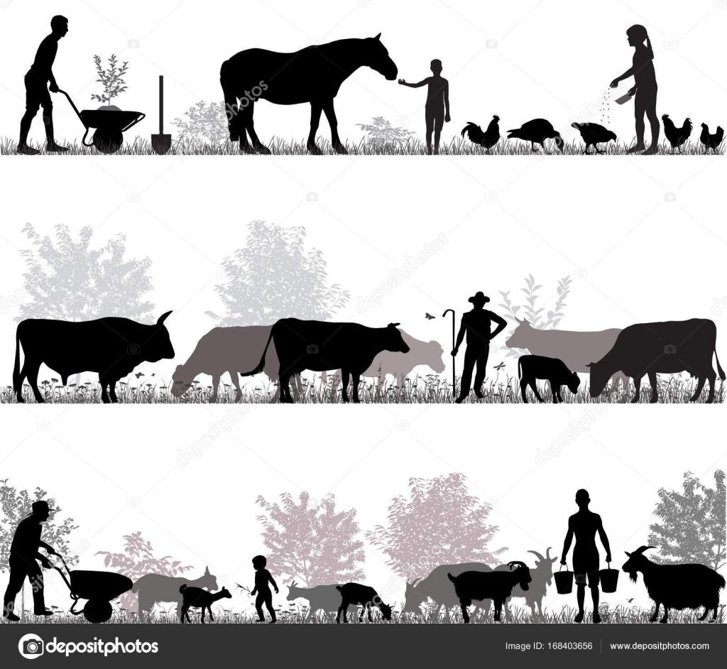 Siluette dei contadini al lavoro e animali della fattoria for Piani di lavoro della fattoria