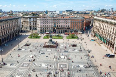 Aerial view of square in Milan