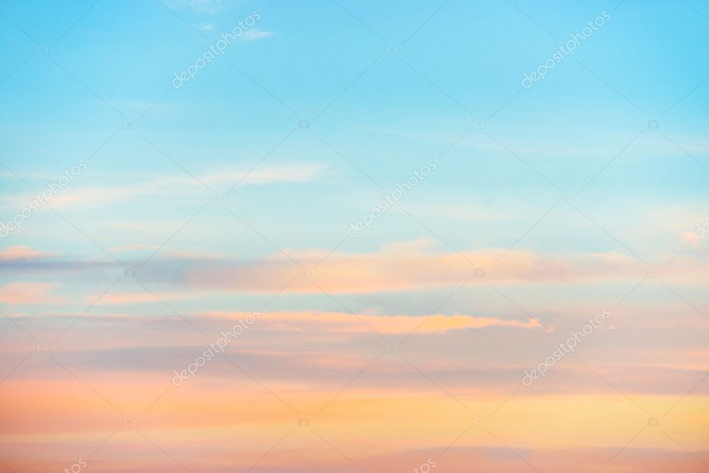 Pale sunset sky with pink