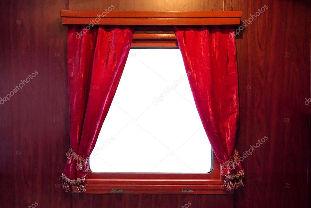 Rosse tende della finestra u2014 foto stock © dovapi #125733796