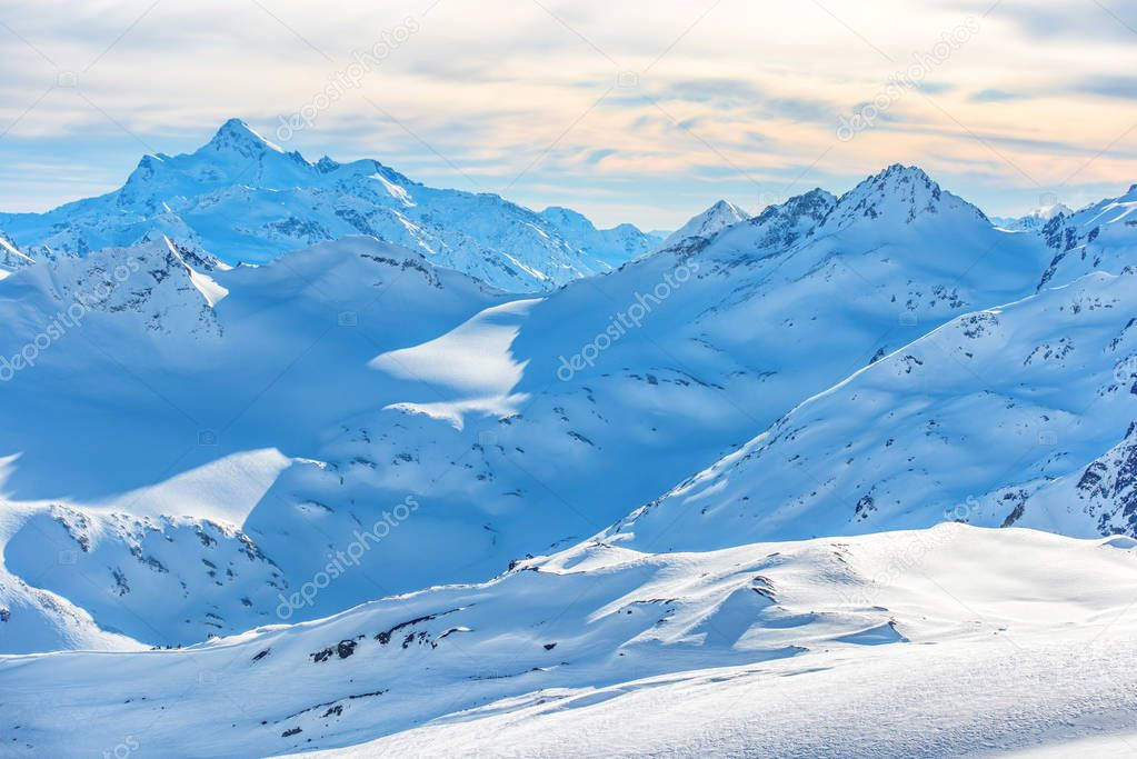 Snowy blue mountains