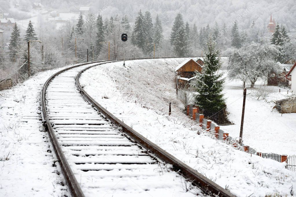 View of railway in snow