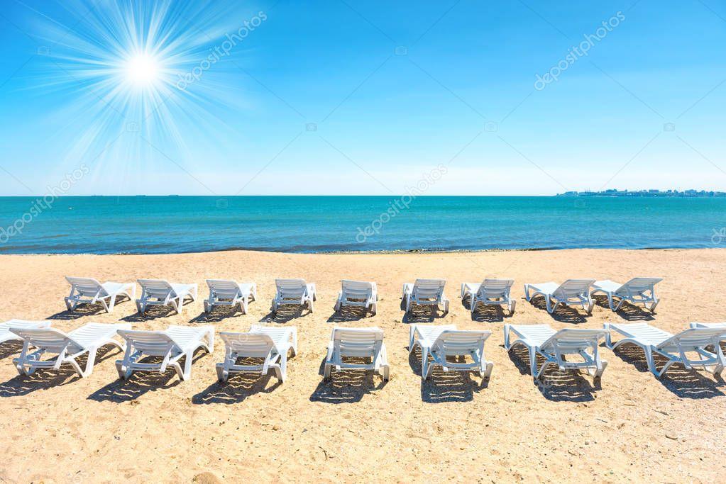 Beach chairs on the beach