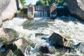 Photo Flowing river water near dam