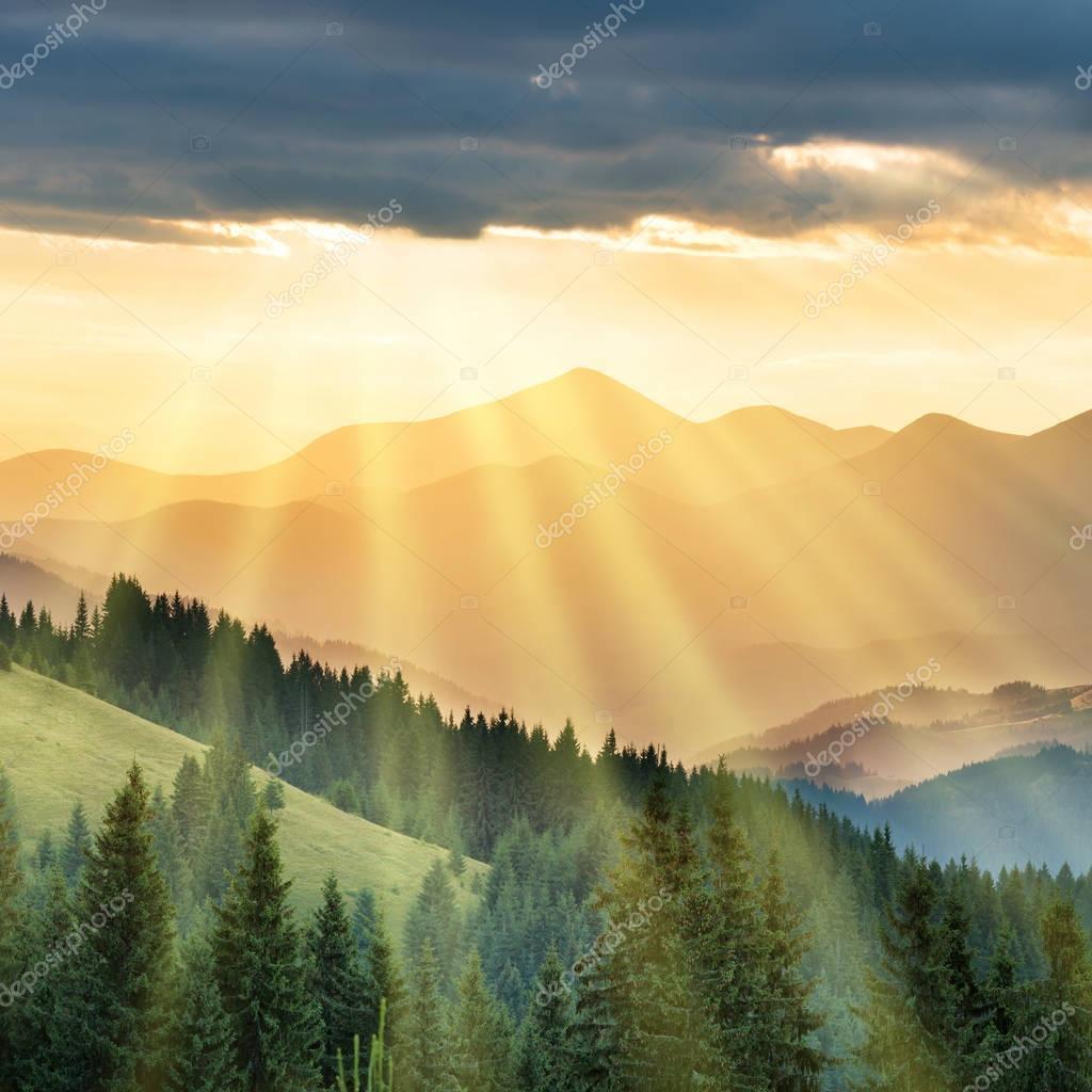 sun rays over mountains range