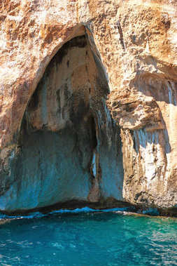 Big sea cave in mediterranean coast