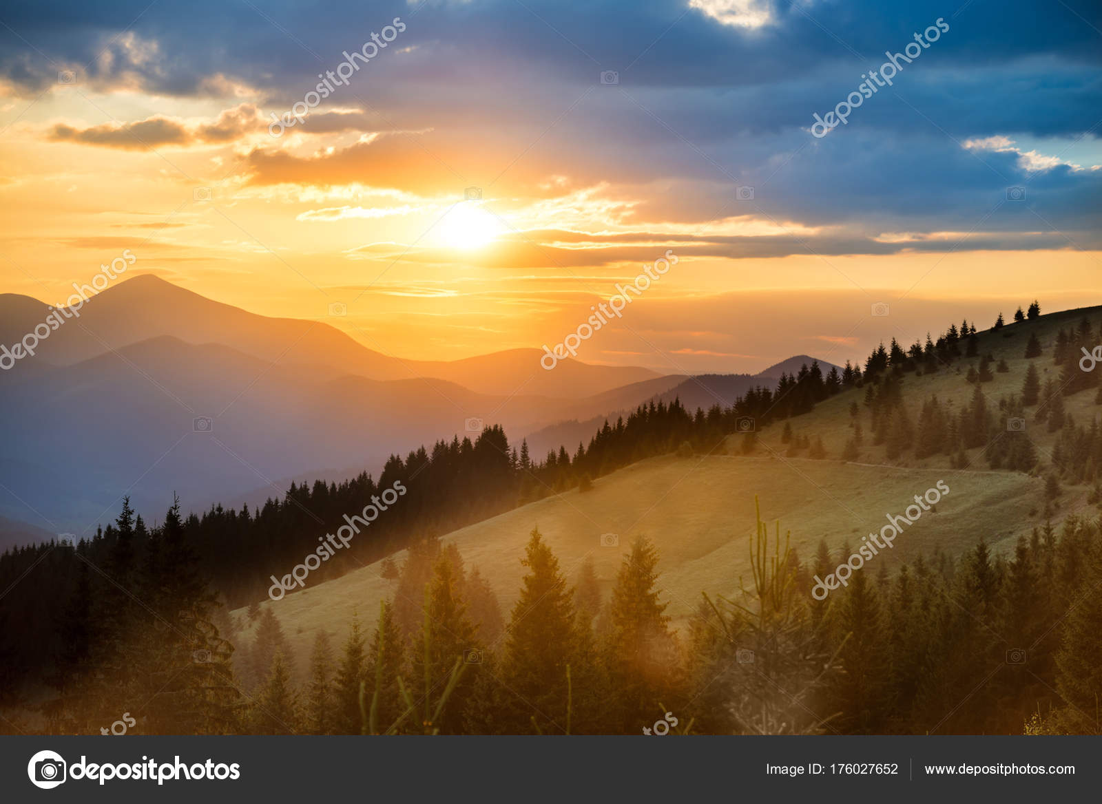 Beautiful Dramatic Sunset In The Mountains Landscape With Sun And Orange Clouds Photo By Dovapi