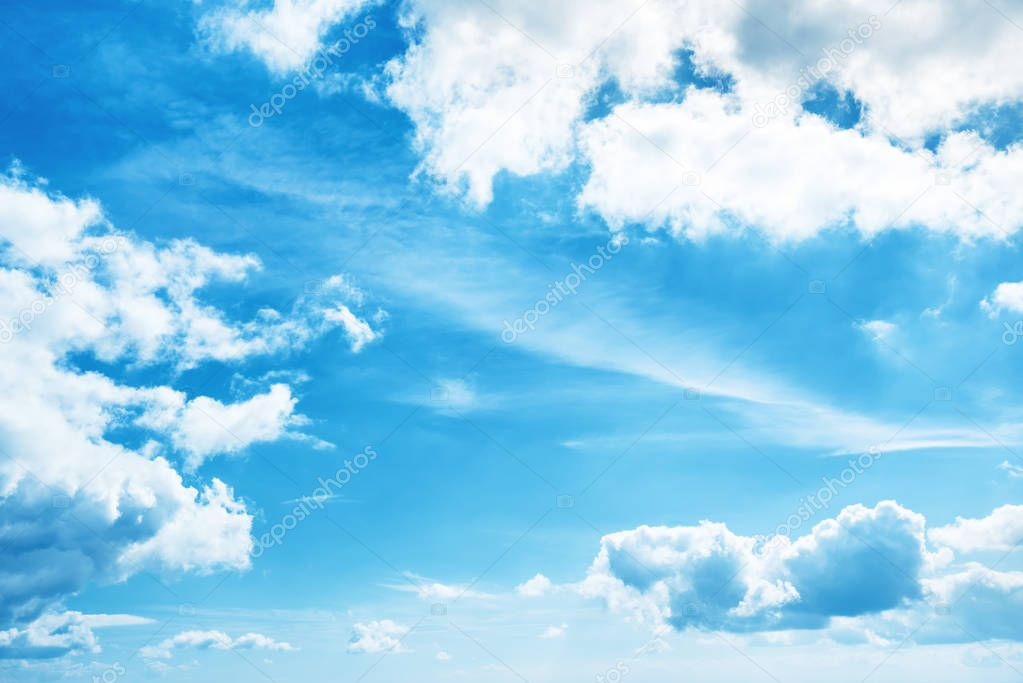 White clouds and blue sky, nature background