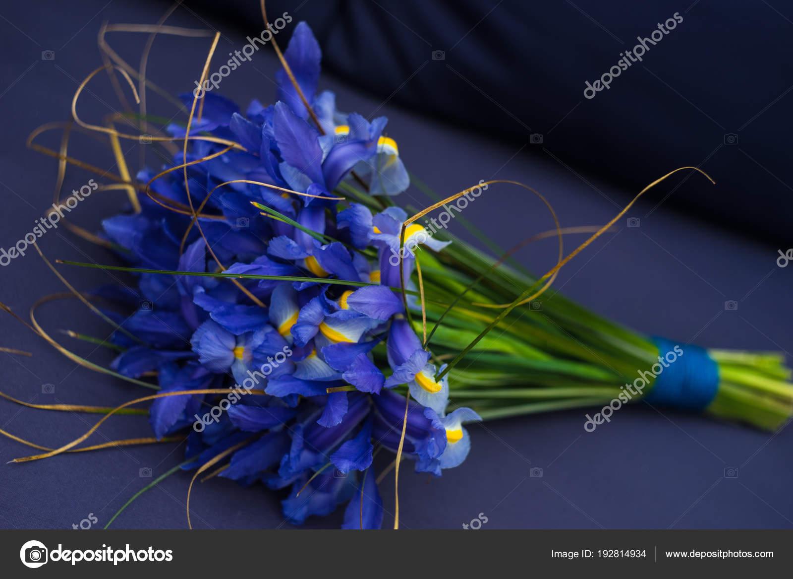 Beautiful Blue Iris Flowers In A Bouquet Stock Photo Elet1
