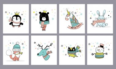 Merry Christmas cute greeting cards, stickers, illustrations. Penguin, bear, owl, deer and unicorn