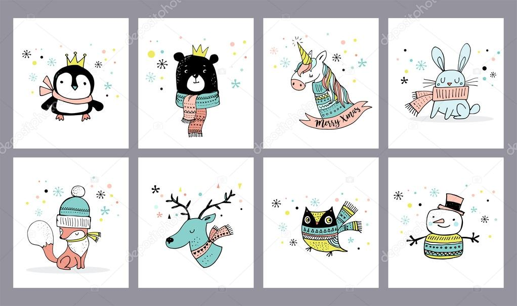 Merry Christmas cute greeting cards, stickers, illustrations ...