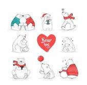 Fotografie Handgezeichnete Polar, niedlichen Bär Set, Mutter und Baby Bären, paar Bären. Frohe Weihnachtsgrüße mit Bären