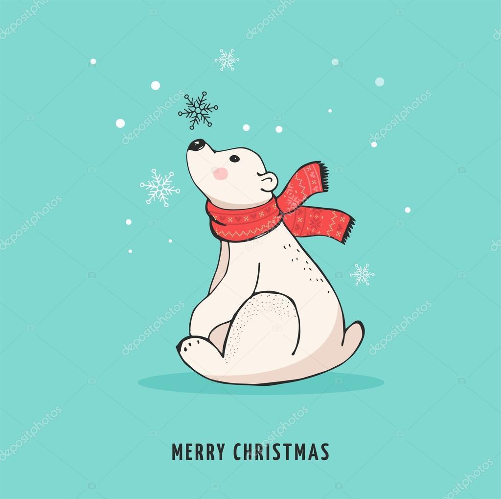 Hand Drawn Polar Bear Cute Bear Set Mother And Baby Bears Couple