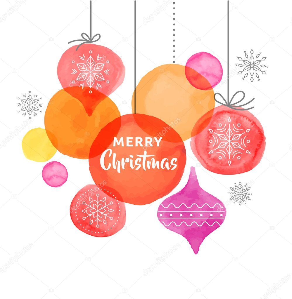 Weihnachten Hintergrund mit Christbaumkugeln, Aquarell leuchtenden ...