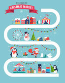 Christmas village map, winter town, Christmas market, Xmas fair, Christmas poster. Merry Christmas background