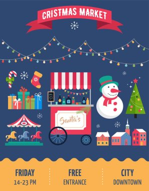 Christmas village, winter town, Christmas market, Xmas fair, Christmas poster. Merry Christmas background