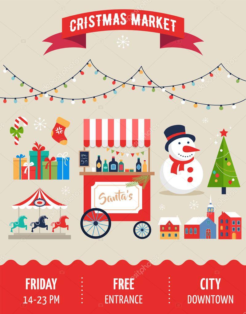 Christmas village, winter town, Christmas market, Xmas fair ...