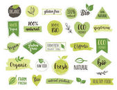 Fotografie Bio, Ecology, Organic logos and icons, labels, tags. Hand drawn bio healthy food badges, set of raw, vegan, healthy food signs, organic and elements set