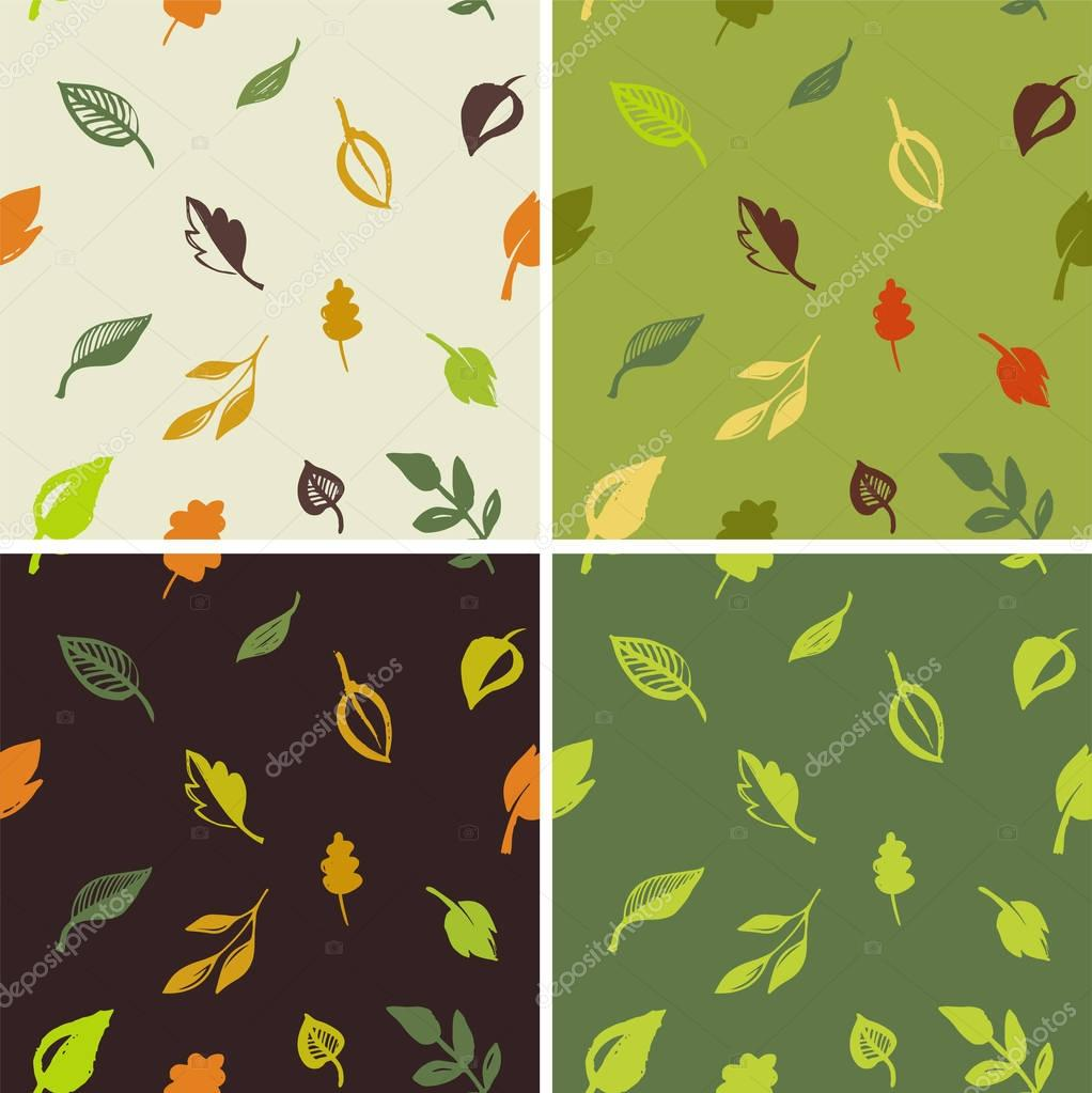 Set of hand drawn leaves pattern, green leaf, sketches and doodles of leaf and plants, green leaves seamless pattern