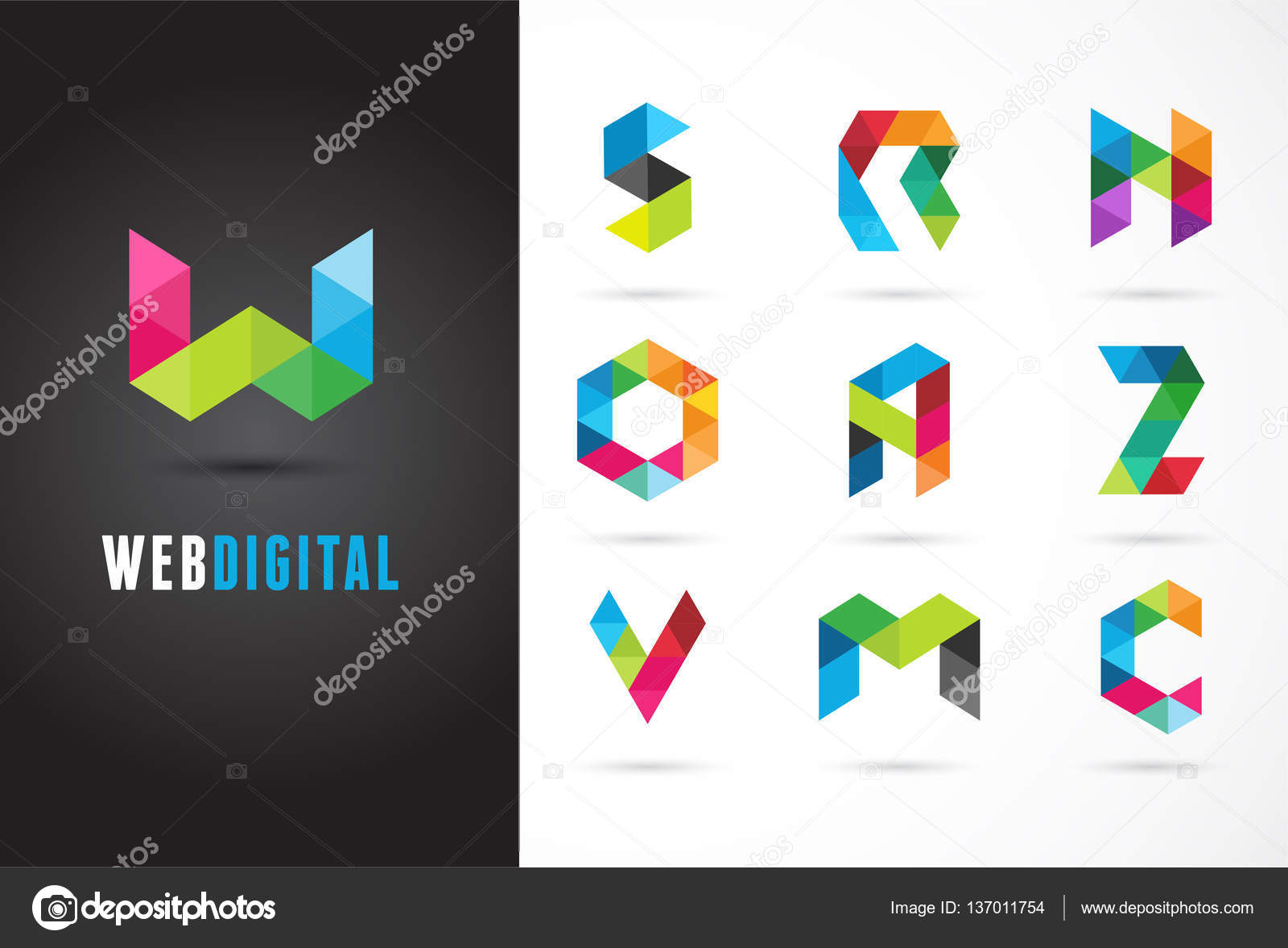 Creative Digital Letter Colorful Icons Element And Symbol Logo