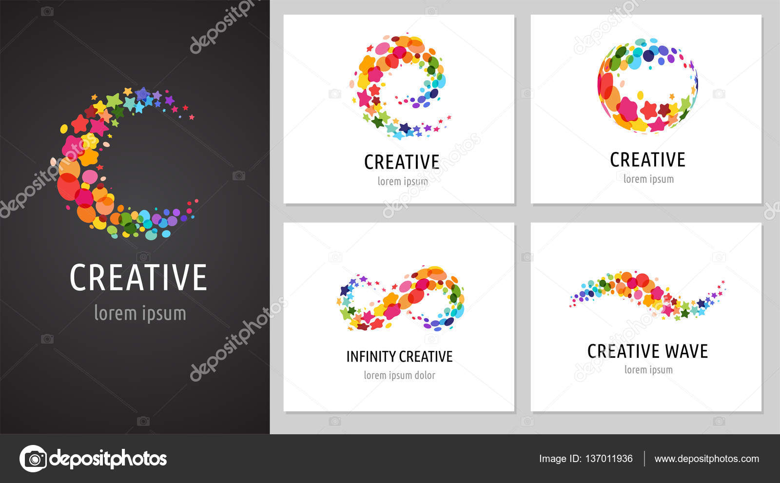 Creative Digital Abstract Colorful Icons Elements And Symbols
