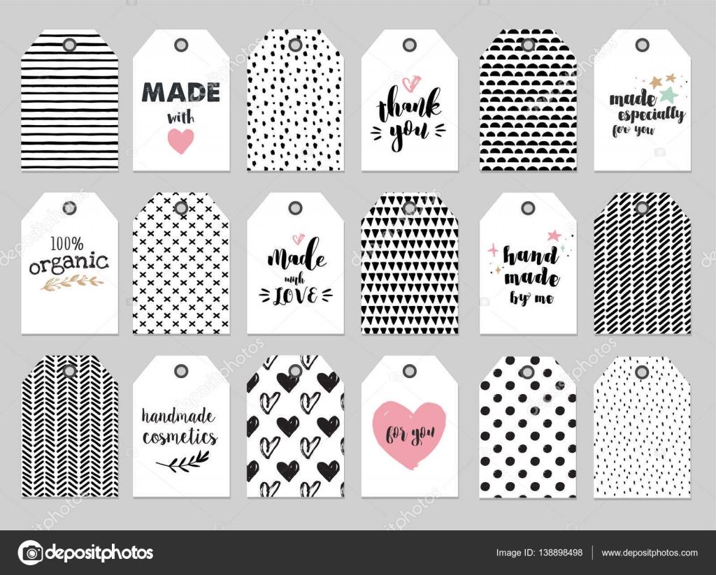 hecho a mano, artesanía, tejido y arte etiquetas, etiquetas con ...