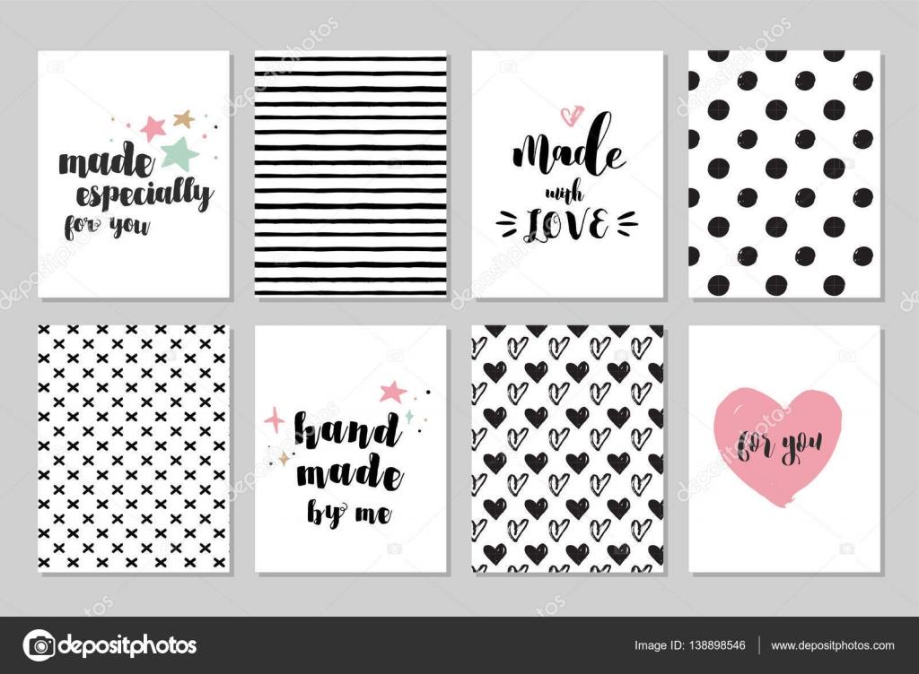 hecho a mano, artesanía, tejido y arte tarjetas, etiquetas con ...