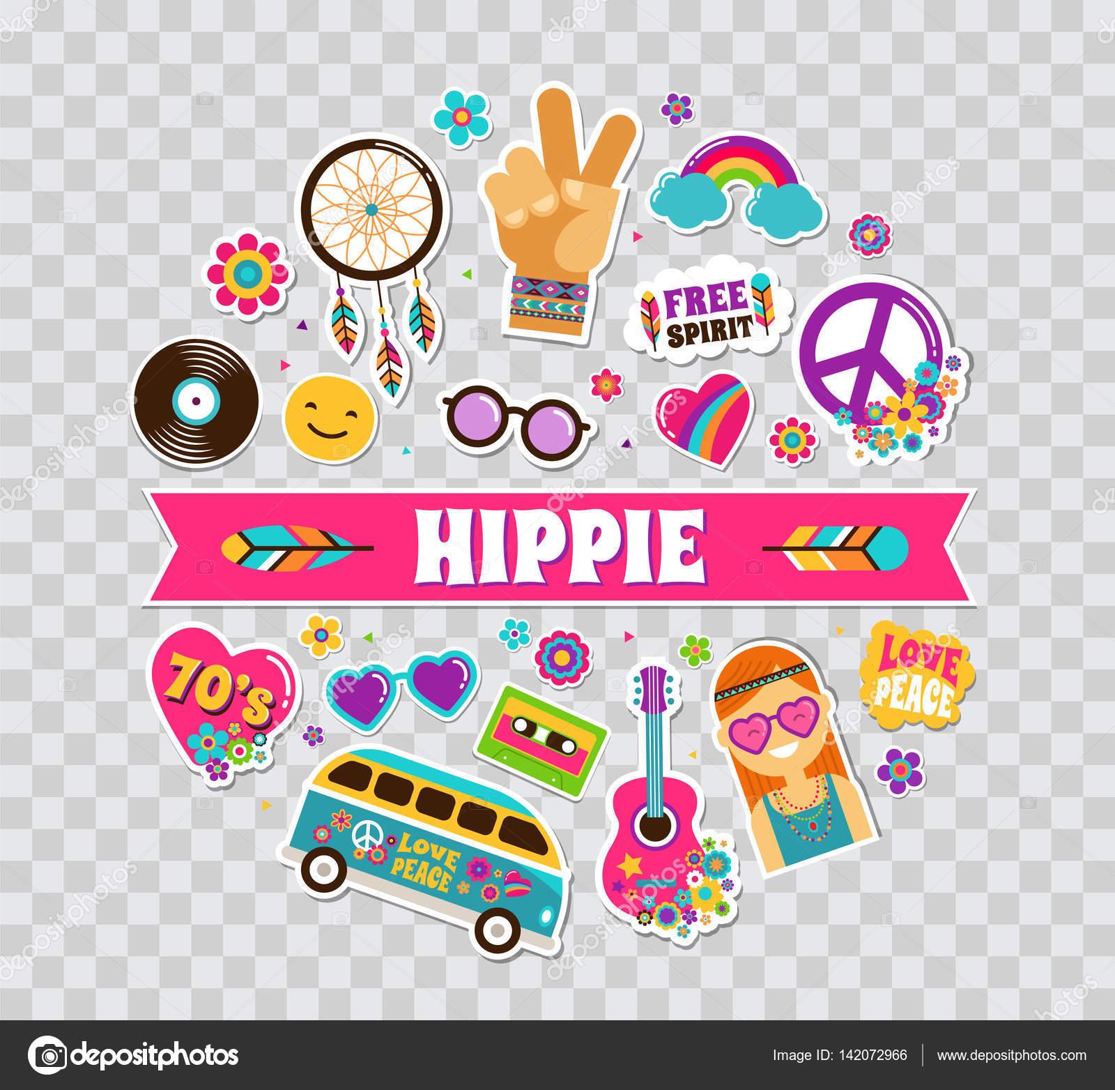 Hippie bohemio cartel dise o de la tarjeta con pegatinas pins