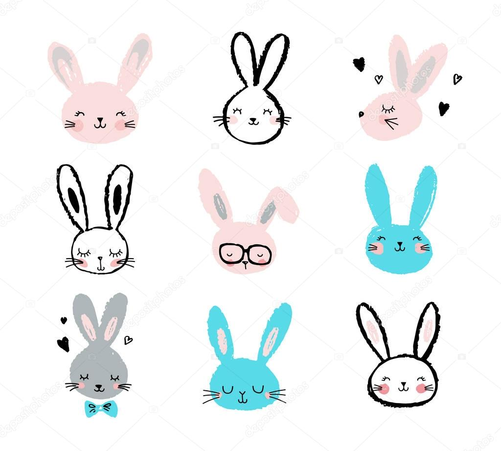 Bunny, rabbits, cute characters set, for Easter, kids and baby t-shirts and greeting cards