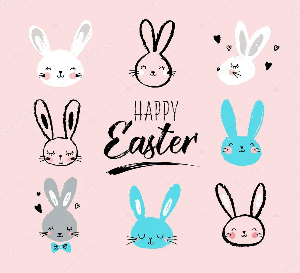 Bunny  Rabbits  Cute Characters Set  For Easter  Kids And
