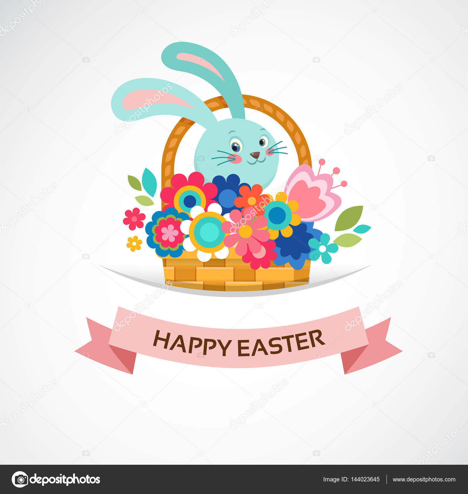 Happy easter greeting card basket with flowers and eggs poster happy easter greeting card basket with flowers and eggs poster bunner illustration m4hsunfo