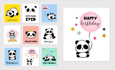 Cute Panda bear illustrations, collection of colorful simple style birthday greeting cards, posters