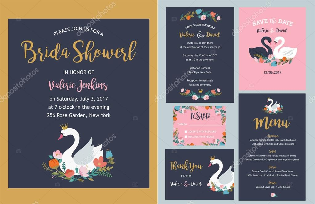 Wedding set with swan illustrations - invitation, save the date, thank you card and menu