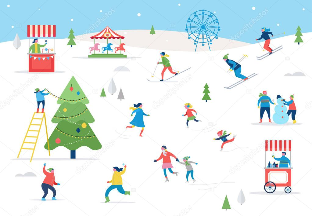 Winter sport scene, Christmas street event, festival and fair, with people, families make fun stock vector
