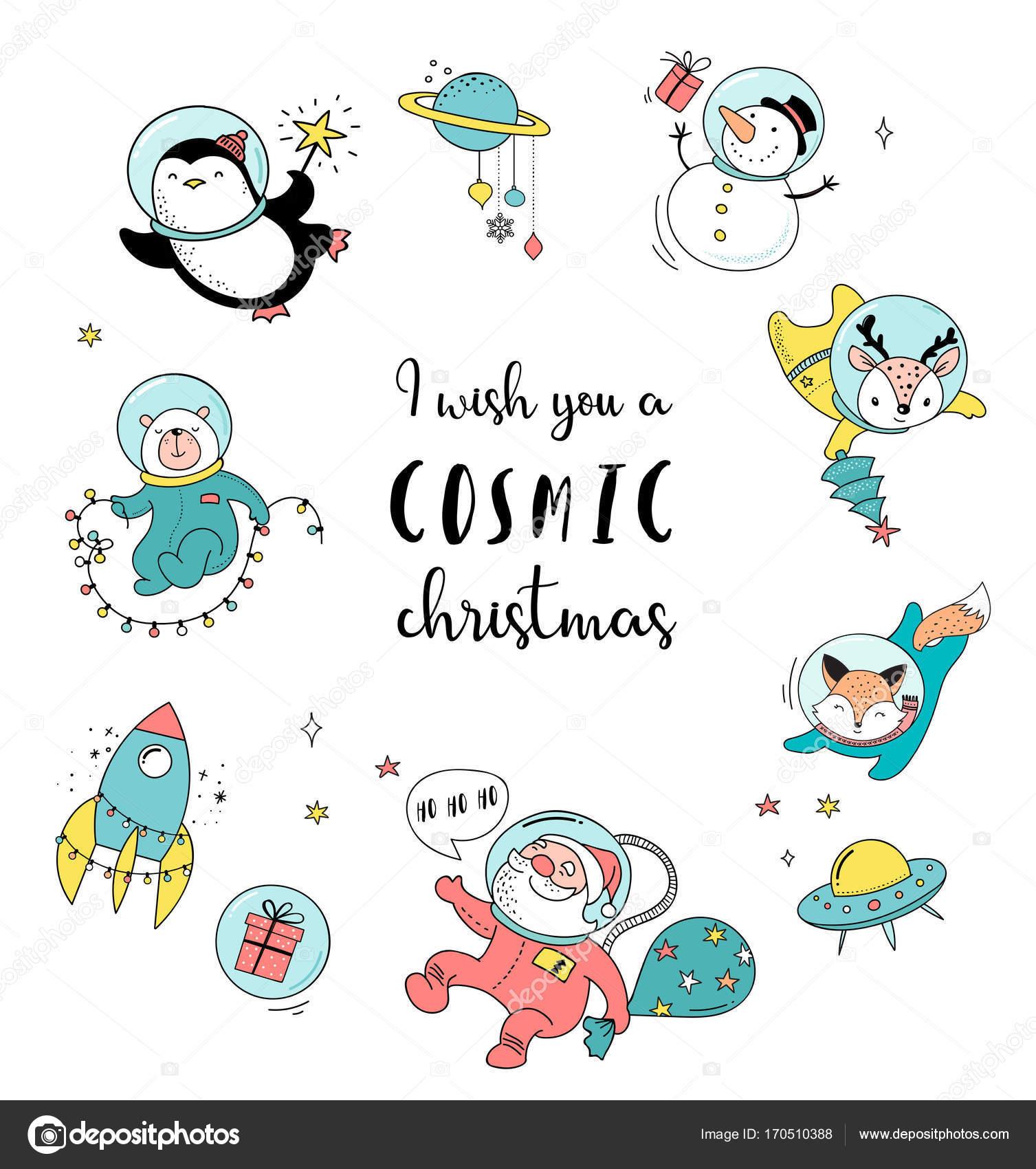 Feliz plantilla de tarjeta de felicitación de Navidad cósmica ...