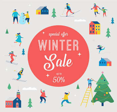 Winter sale banner, poster, promotion design with people, family make winter sport stock vector