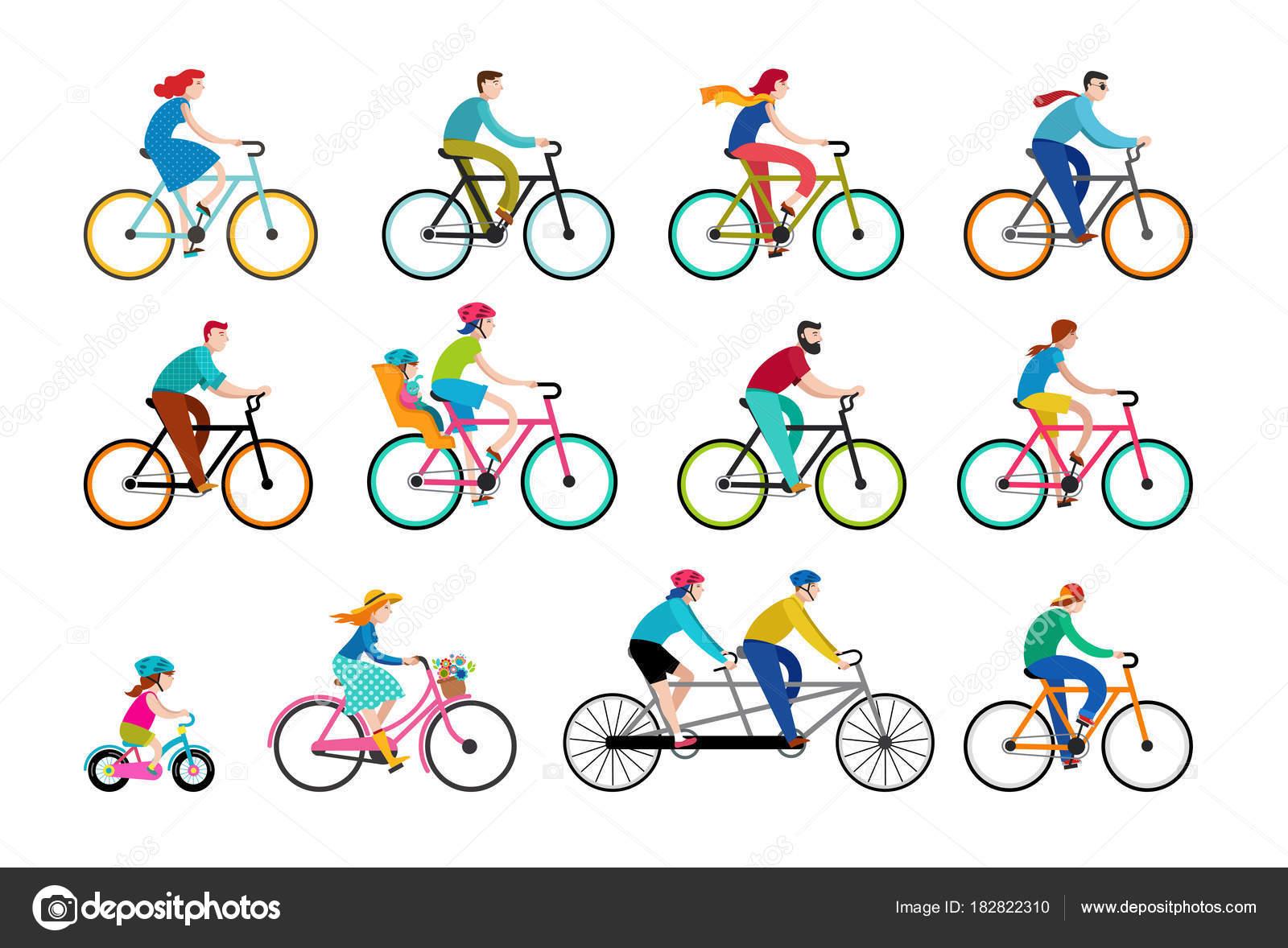 pessoas andando de bicicleta no parque férias em família ativo