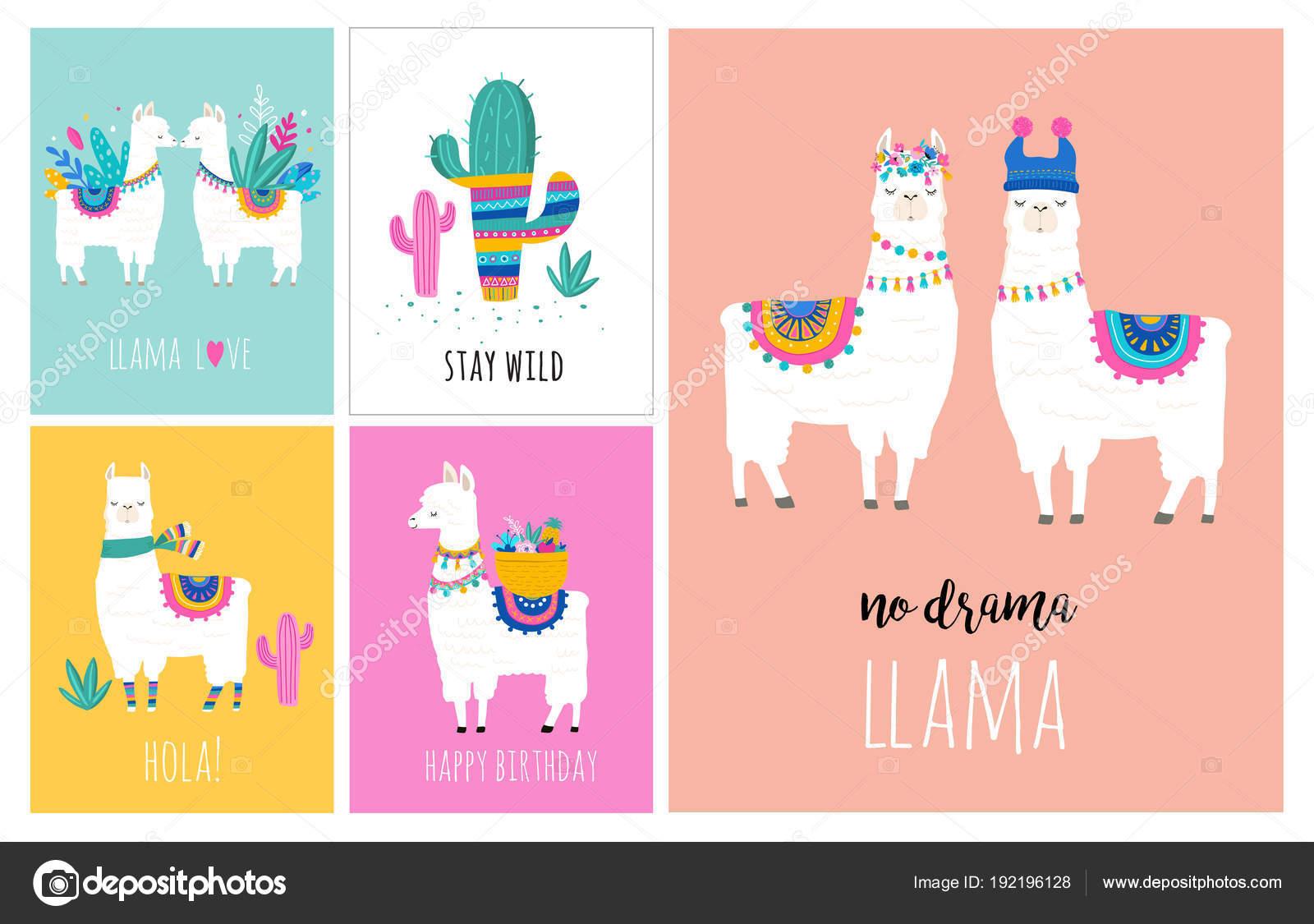 94c57e8802 Lama e alpaca collezione di illustrazioni disegnate a mano carina, carte e  design per la progettazione della scuola materna– illustrazione stock