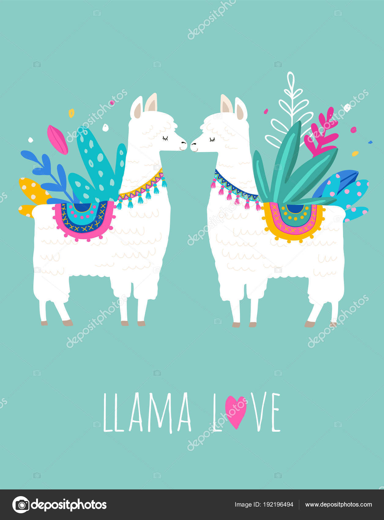 llama love illustration cute hand drawn elements and design for
