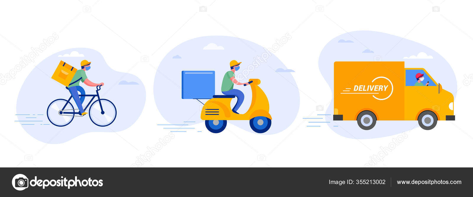 Online Delivery Service Concept Online Order Tracking Delivery Home And Office Warehouse Truck Drone Scooter And Bicycle Courier Delivery Man In Respiratory Mask Vector Illustration Stock Vector C Marish 355213002