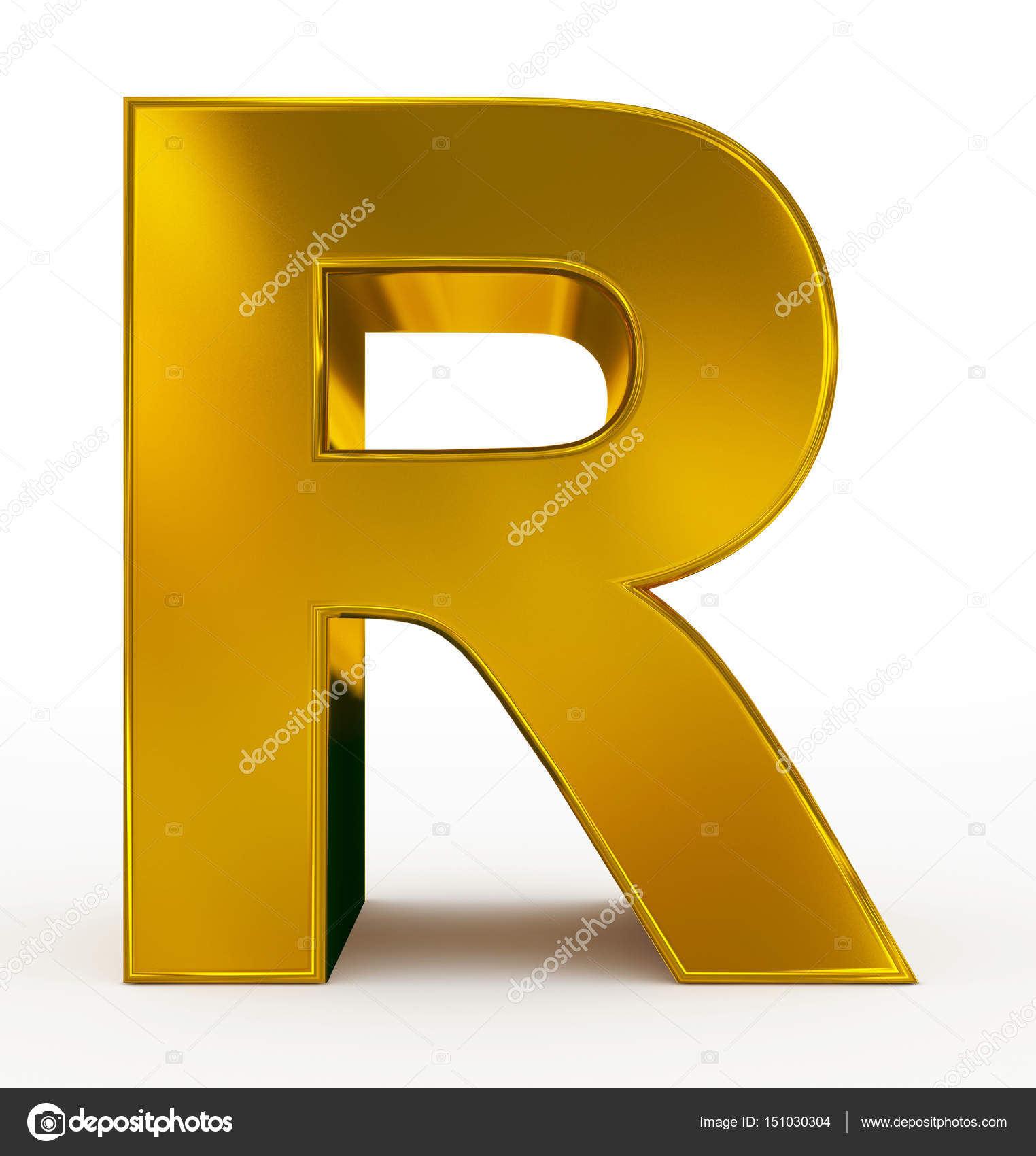 Stock Photo Letter R 3d Golden Isolated on Letter Y Video