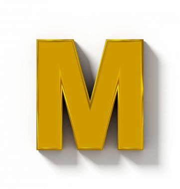 letter M 3D golden isolated on white with shadow - orthogonal pr