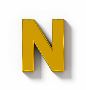letter N 3D golden isolated on white with shadow - orthogonal pr