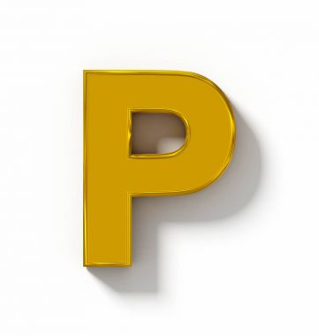 letter P 3D golden isolated on white with shadow - orthogonal pr