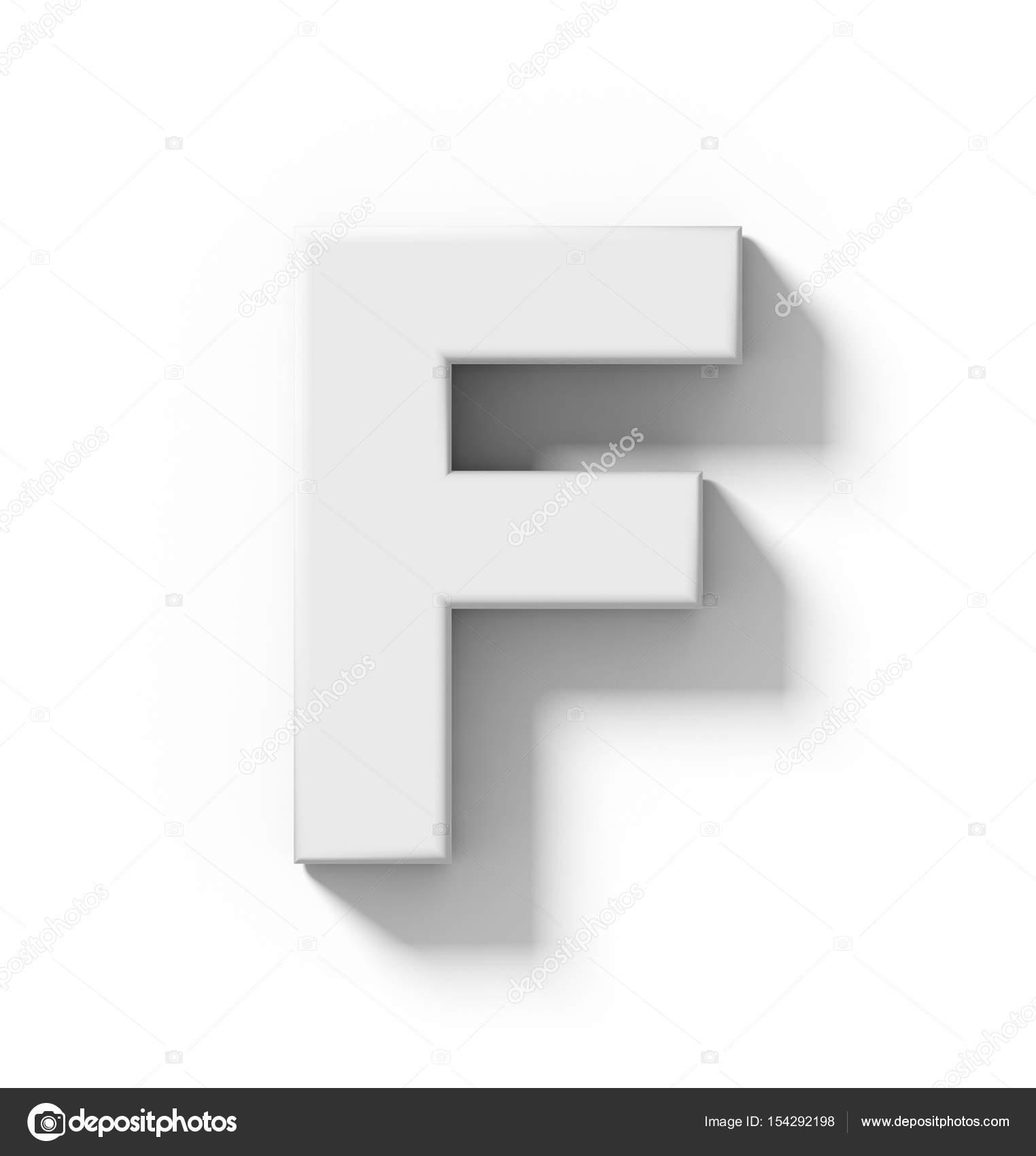 3d blanc lettre F, isolé sur blanc avec ombre - pro ...
