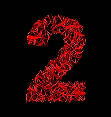 number 2 red artistic fiber mesh style isolated on black